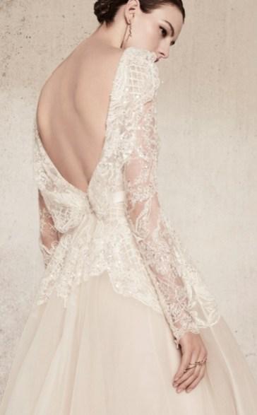 Elie Saab bridal 2018 свадебное платье с вышивкой открытой спиной и длинным руковом