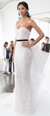 свадебное платье c черным поясом marchesa 2018