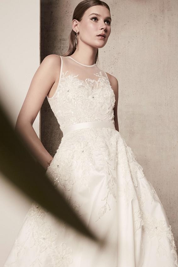 Elie Saab bridal 2018 свадебное платье с объемной юбкой кружево и вышивка