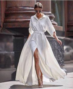 модная белое платье рубашка - модный тренд 2017