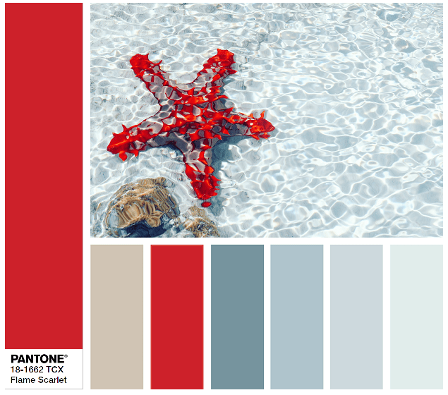 PANTONE 18-1662 Flame Scarlet color combination
