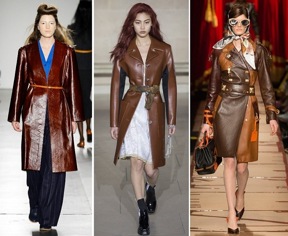 модные кожанные пальто осень 2017