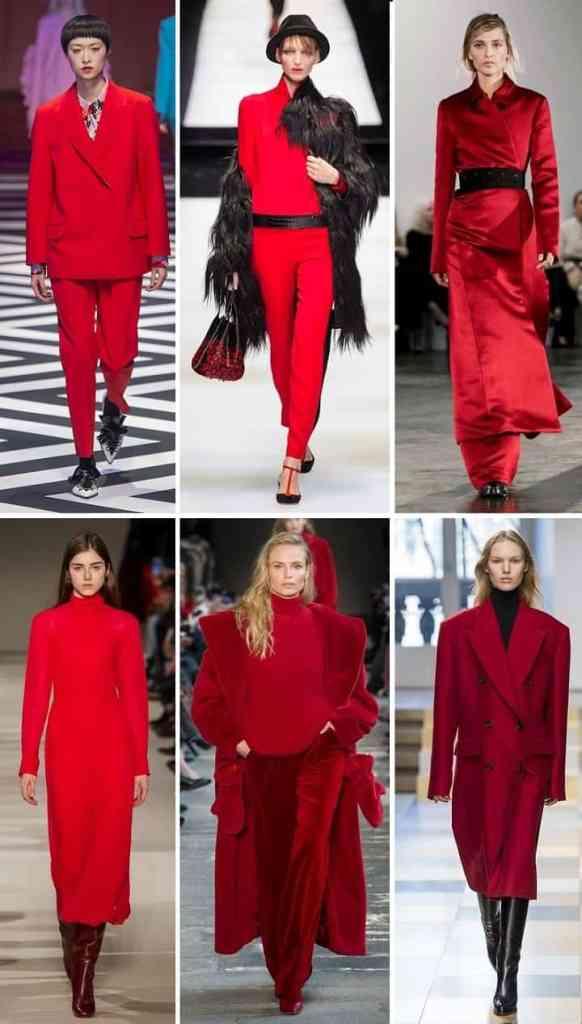 тренд очени и зимы 2018 2017 красный цвет