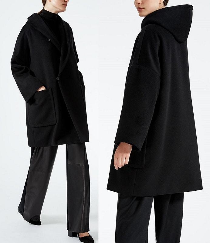 недлинное черное пальто Макс Мара овер сайз с капюшоном осень 2017