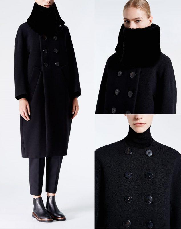 модное итальянское пальто Макс Мара черно с меховым воротником