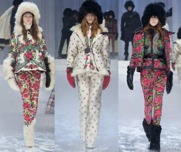 пуховики Монклер с цветочным прином зима 2018