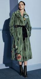 модная шуба Фенди италья из норки зеленая с цветами зима 2017 2018