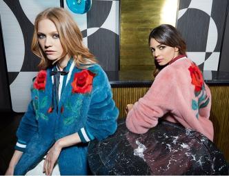 модная цветная итальянская шуба из норки с цветами Gavazzi