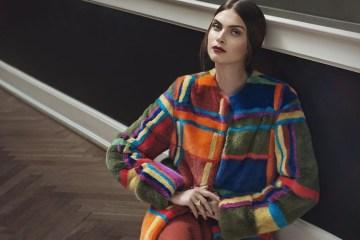 модные шубы - норковая итальянская шуба из цветных полосок