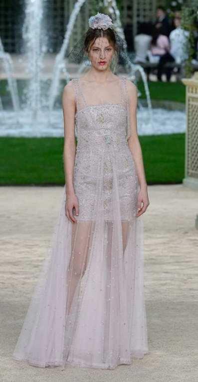 прозрачное свадебное платьеwedding dress Chanel couture 2018