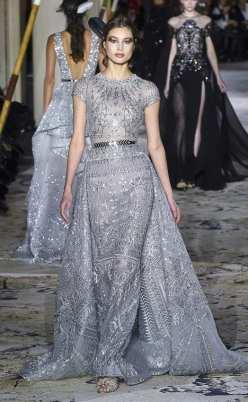 голубое свадебное платье блестящая вышивка zuhair murad couture 2018