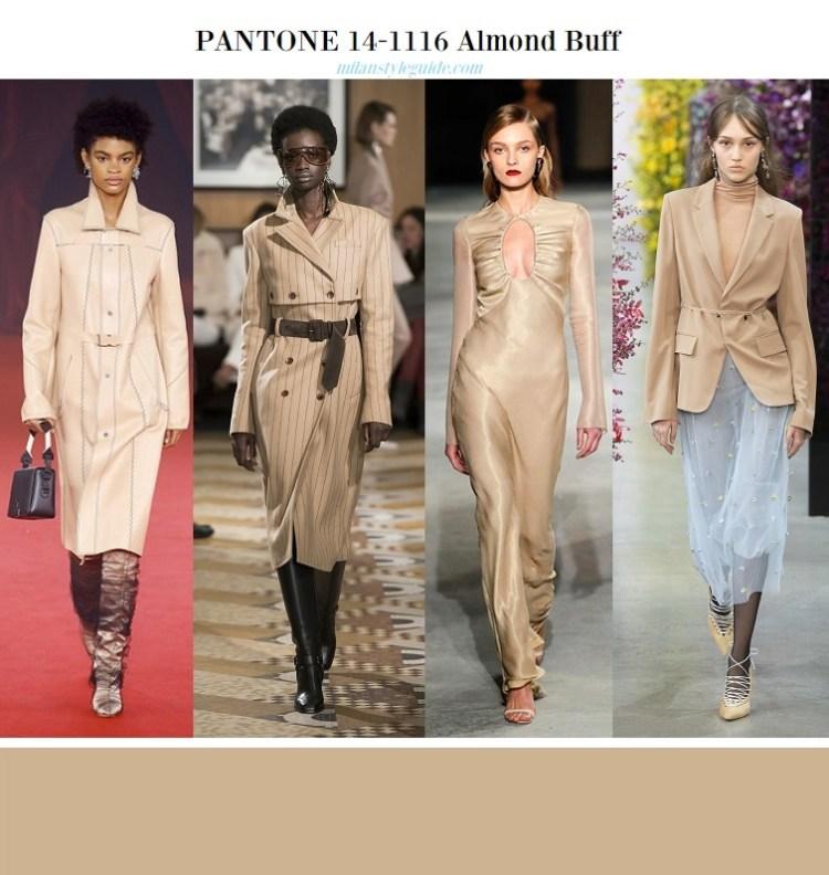 Блестящий миндаль color fashion trend fall 2018 2019 PANTONE 14-1116 Almond Buff