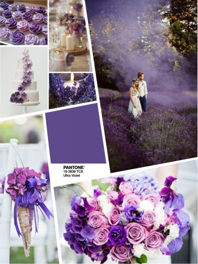 2018 color wedding свадьба 2018 цвет свадьбы 2018 ультрафиолет - букет и оформление в цвете