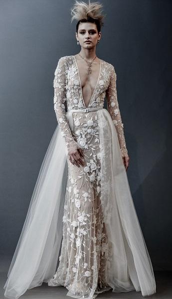 Naeem Khan свадебное платье с глубоким декольте - тренд 2019
