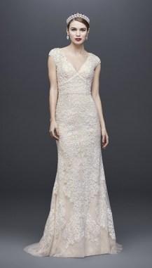 свадебные платья 2019 модные тенденции - красивое пышное свадебное платье oleg cassini