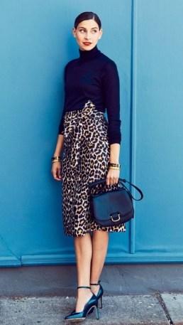 леопардовая юба карандаш стрит-стайл