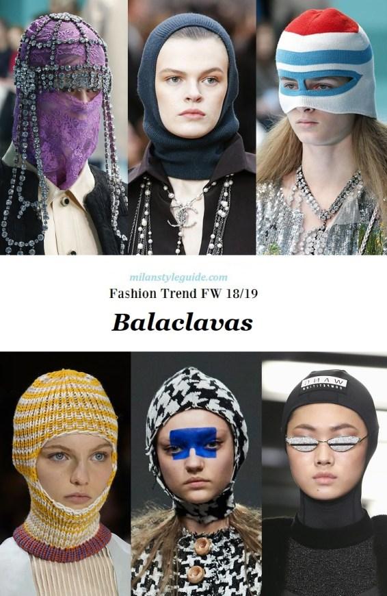 модный тренд осень 2018 2019 - самый модный головной убор Balaclavas
