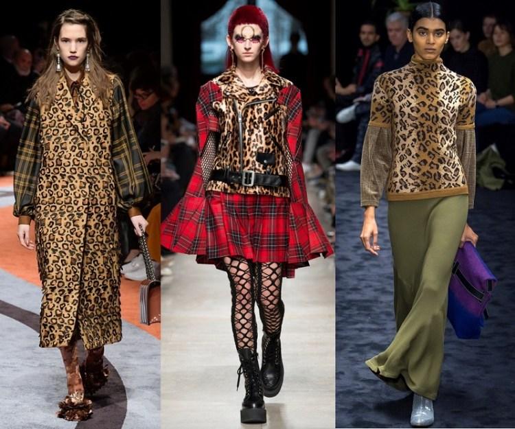 как стиьно комбинировать леопард с клеткой мода 2018