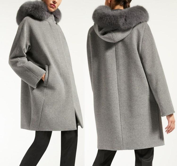 короткое серое пальто Макс Мара с капюшеном и мехом