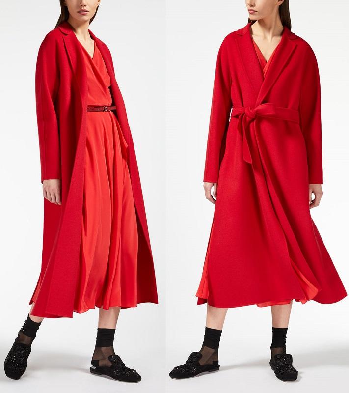 красное длинное пальто МАкс Мара