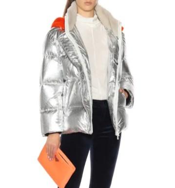 Yves Salomon модный пуховик с металлик блестящий - тренд зима 2018 2019