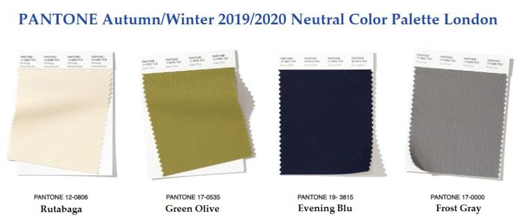 Нейстральная палитра модны цвета осень зима 2019 2020 Пантон