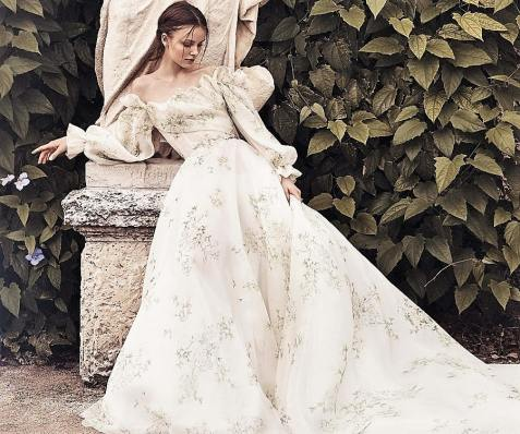 модные свадебные тенденции 2020 - свадебное платье с пышными рукавам Monique Lhuillier New York Bridal Spring 2020