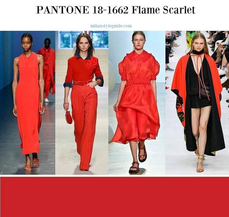 модные цвета весна лето 2020 Пантон 18-1662 Flame Scarlet