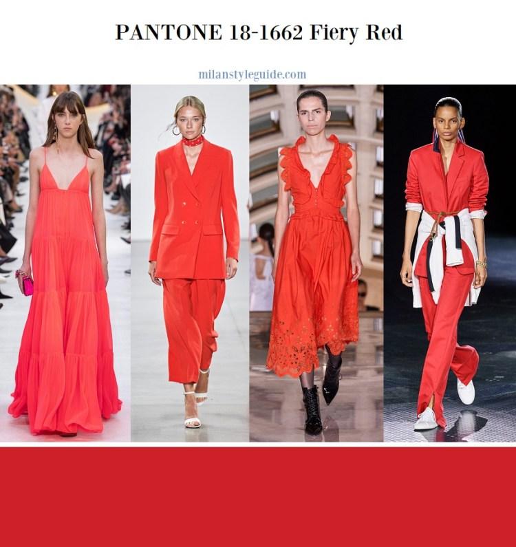 модные цвета весна лето 2020 fashion color trend 2020 PANTONE 18-1662 Fiery Red