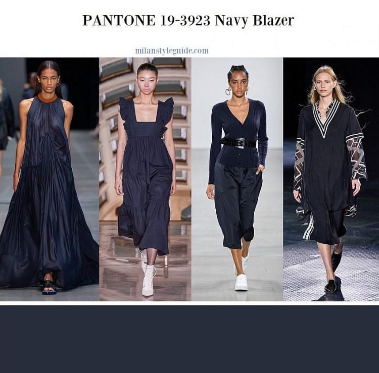 модные цвета весна лето 2020 Color trend SS 2020 PANTONE 19-3923 Navy Blazer