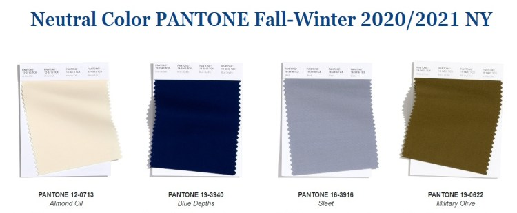 Classic color trend fall winter 2020 Pantone NY palette