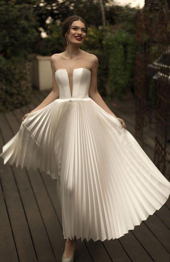 свадебное платье с юбкой плиссе