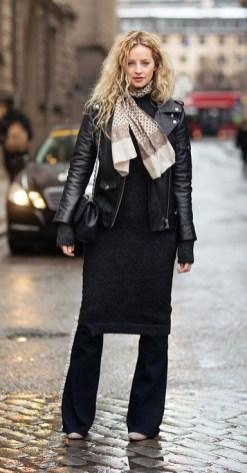 модный тренд - платье свитер на брюки