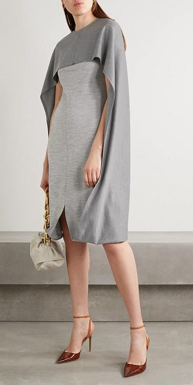 модное платье с кейпом лето и осень 2020