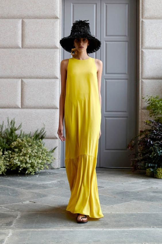 модные женские платья лето 2020 желтый цвет