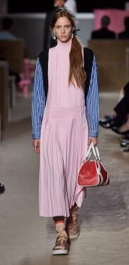 Платье с плиссированной юбкой Prada 2020