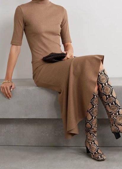 Модное вязаное платье свитер зима 2021