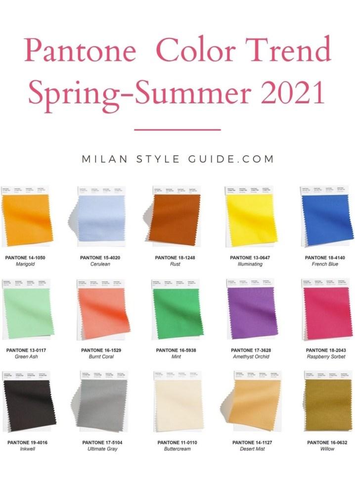 модные цвета весна лето 2020 пантон палитра