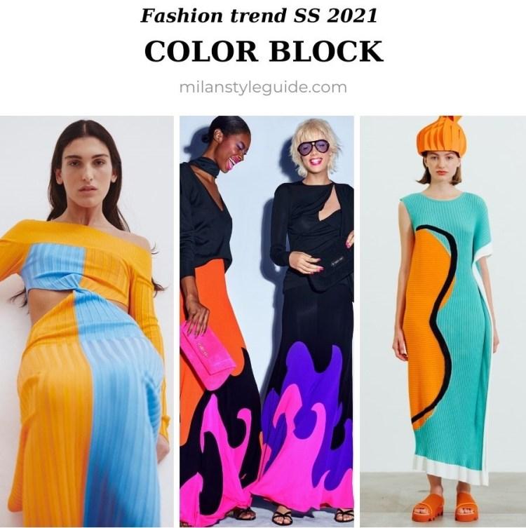 модный тренд весна лето 2021 колор блок