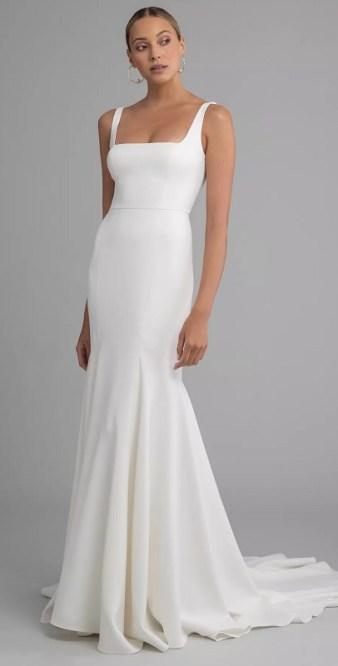 простые свадебные платья модный тренд 2021 квадратный вырез