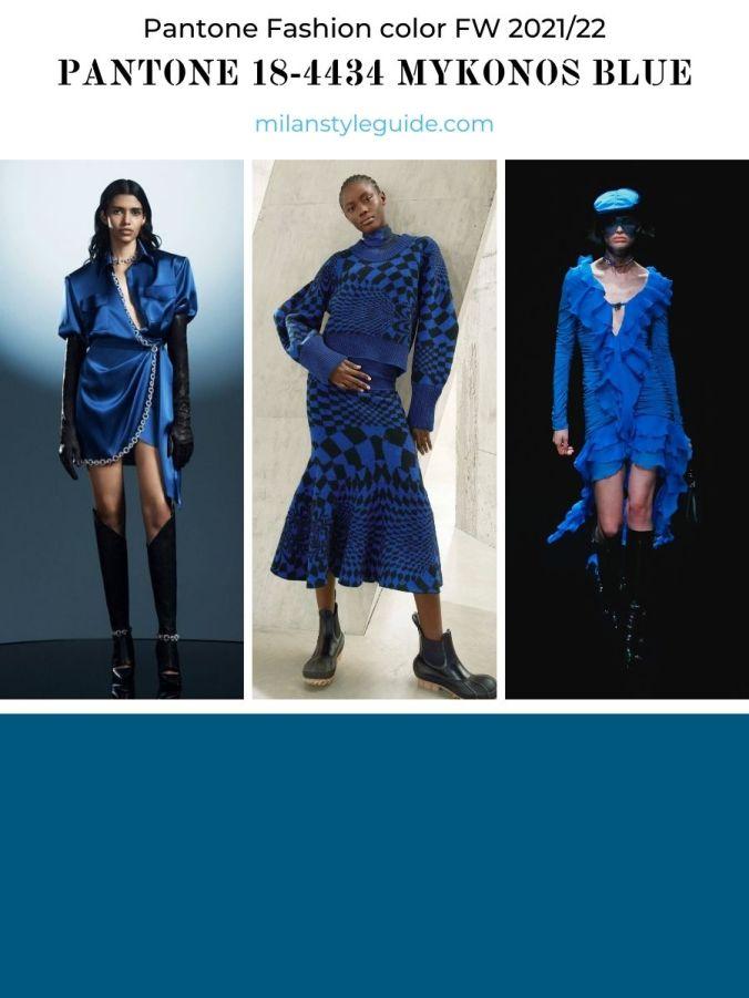 модный синий цвет осень-зима 2021-2022 в одежде
