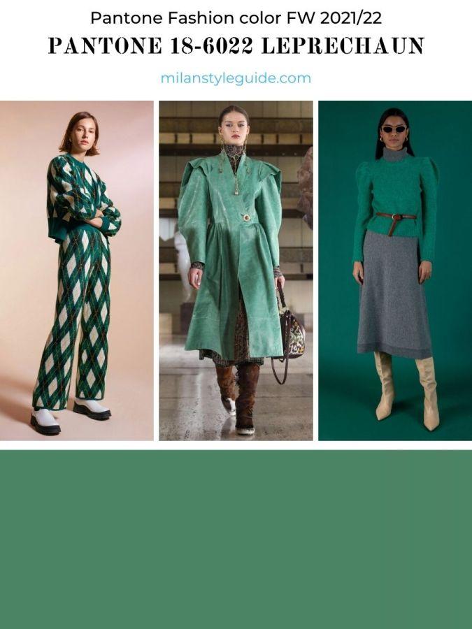 модный зеленый цвет осень-зима 2021-2022 в одежде