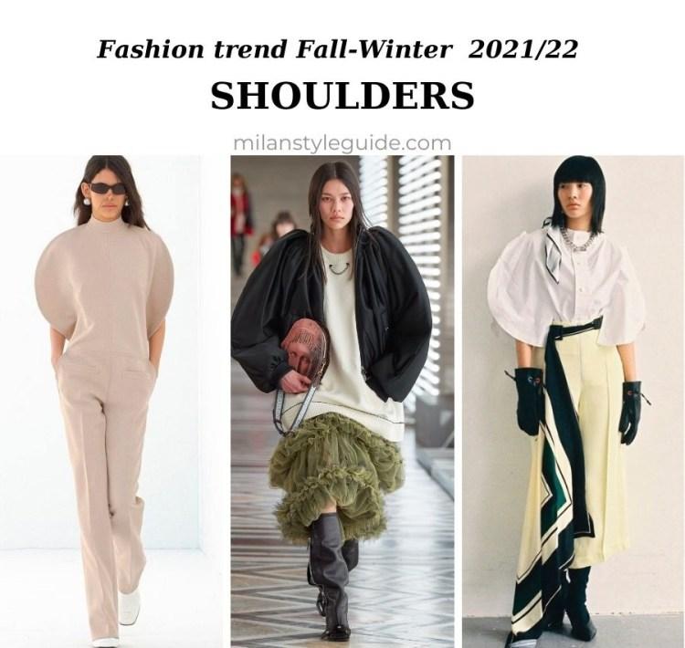 модный тренд осень зима 2021 2022 арочные плечи