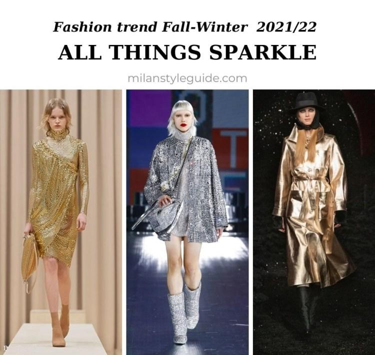 модный тренд осень зима 2021 2022 блестящие вещи