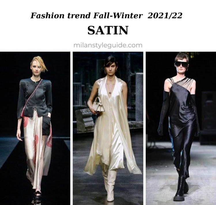 модный тренд осень зима 2021 2022 сатин и атлас