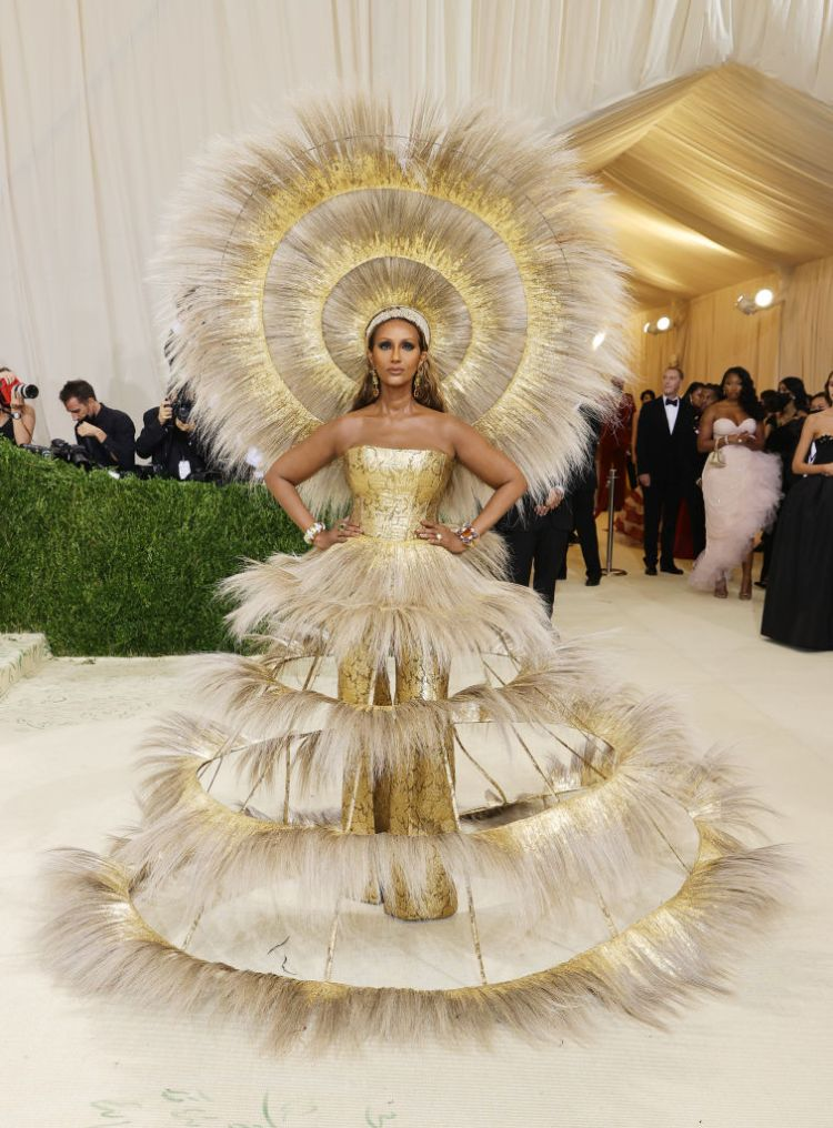 Iman attends The 2021 Met Gala Celebrating In America: A Lexicon Of Fashion at Metropolitan Museum of Art