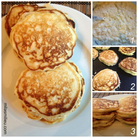 fluffy buttermilk pancakes from home-made mix