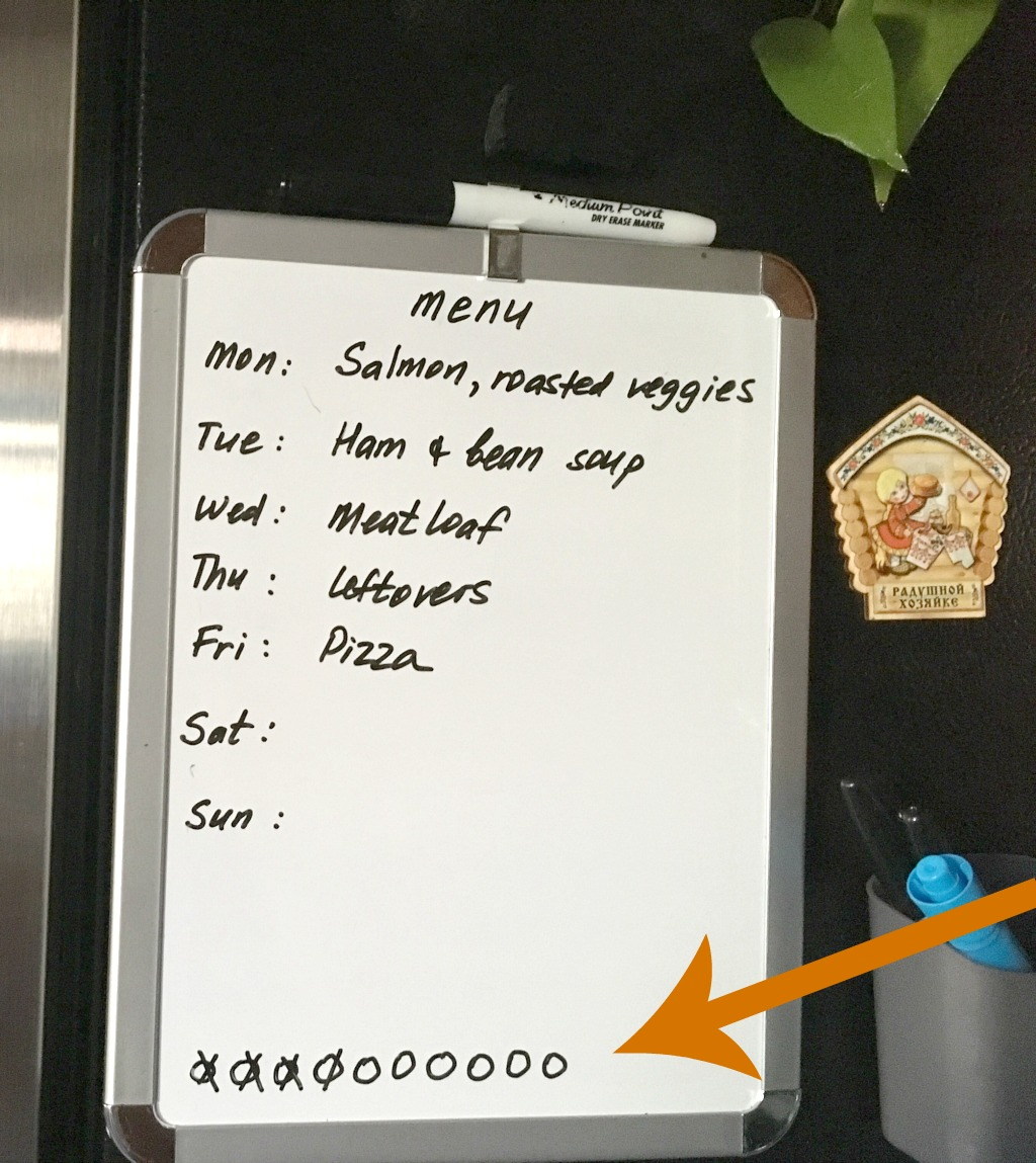 dry-erase menu board to track kids medicine