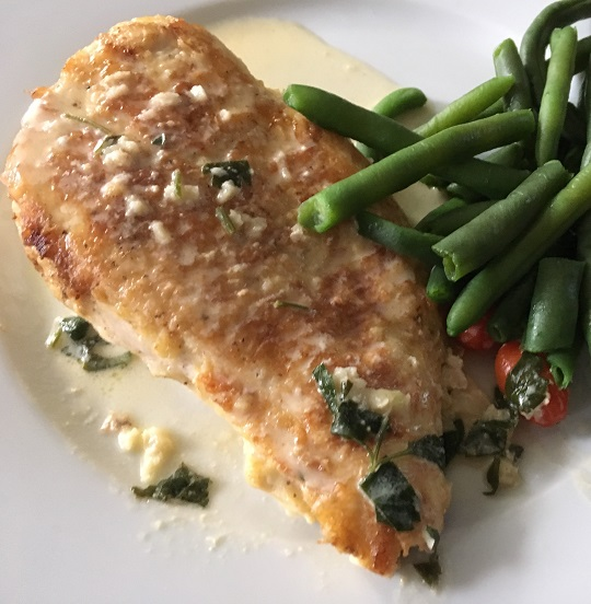 Chicken Francese with green beans