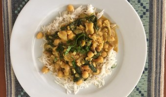 Mild chickpea coconut curry recipe.